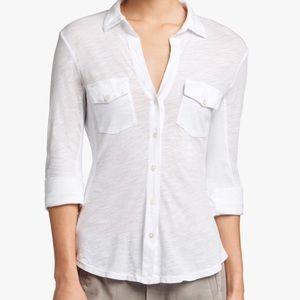 James Perse Sheer Slub Side Panel Shirt